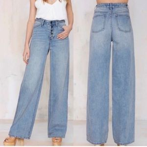 Nasty Gal Strider Wide Leg Button Fly Jeans